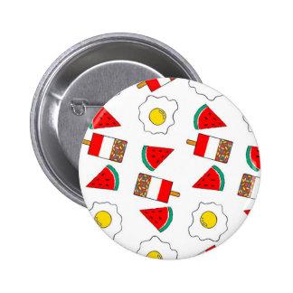 Fab, Fried Egg, Fruit Art Badge Button