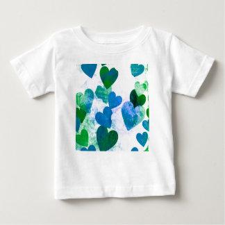 Fab Green & Blue Grungy Hearts Design Baby T-Shirt