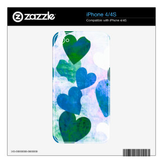 Fab Green & Blue Grungy Hearts Design iPhone 4S Decals