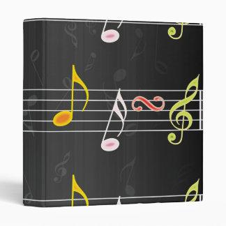 Fab Music Notes on Black 3 Ring Binder