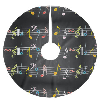 Fab Music Notes on Black Brushed Polyester Tree Skirt