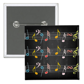 Fab Music Notes on Black 2 Inch Square Button