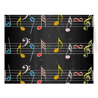 Fab Music Notes on Black Large Greeting Card