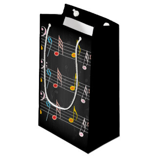 Fab Music Notes on Black Small Gift Bag