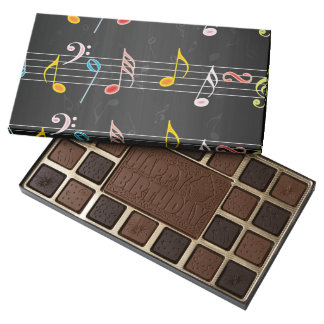 Fab Music Notes on Black 45 Piece Box Of Chocolates