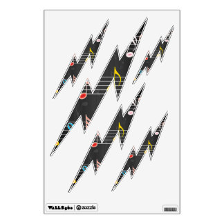 Fab Music Notes on Black Wall Sticker