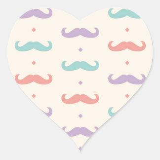 Fab Pastel Popular Mustache Moustache Gift Present Heart Sticker