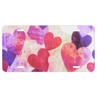 Fab Pink & Purple Grungy Hearts Design License Plate