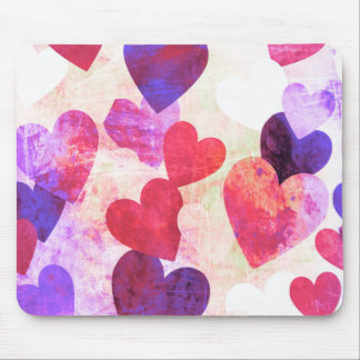 Fab Pink & Purple Grungy Hearts Design Mouse Pad
