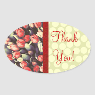 Fab Red with trim & Tulips! Thank You! Oval Sticker