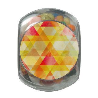 Fab Yellow & Red Triangle Geometric Design Glass Jar
