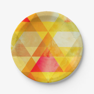 Fab Yellow & Red Triangle Geometric Design Paper Plate