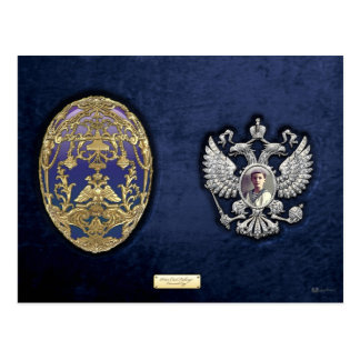 Faberge Tsarevich Egg with Surprise on Blue Velvet Postcard