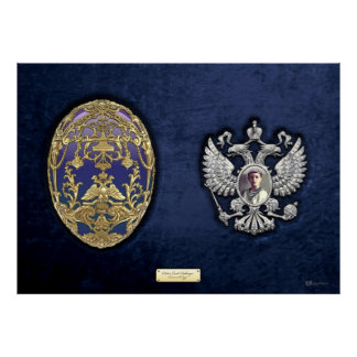Faberge Tsarevich Egg with Surprise on Blue Velvet Poster