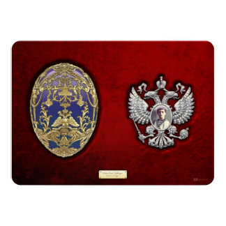 Faberge Tsarevich Egg with Surprise on Red Velvet Card
