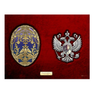 Faberge Tsarevich Egg with Surprise on Red Velvet Postcard