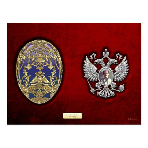 Faberge Tsarevich Egg with Surprise on Red Velvet Post Cards