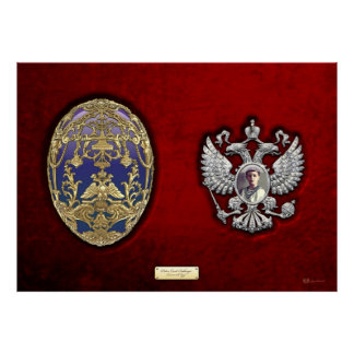 Faberge Tsarevich Egg with Surprise on Red Velvet Poster