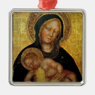 Fabriano- gentil Madonna, gentil Fabriano del niño Adorno Cuadrado Plateado