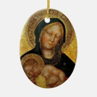 Fabriano- gentil Madonna, gentil Fabriano del niño Adorno Ovalado De Cerámica