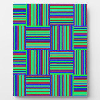 fabric-683095 NEON STRIPED SQUARES TEXTILE FABRIC Plaque