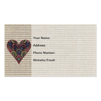 Fabric Applique Heart Collage Business Card