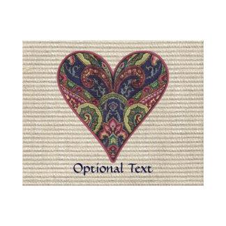 Fabric Applique Heart Collage Canvas Print