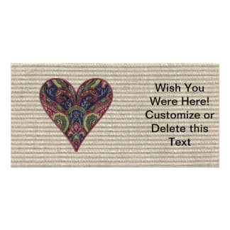 Fabric Applique Heart Collage Photo Card