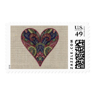 Fabric Applique Heart Collage Postage