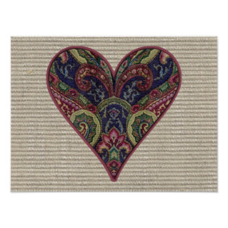Fabric Applique Heart Collage Poster