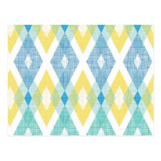 Fabric argyle pattern postcard