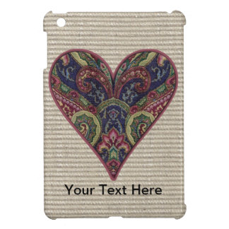 Fabric Blue and Red Heart Cover For The iPad Mini