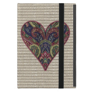 Fabric Blue and Red Heart iPad Mini Cover