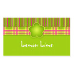 Fabric Business Card Plaid Stripes Lime Green
