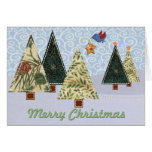 Fabric Christmas Trees Greeting Cards