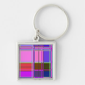 Fabric Cloth Colors Squares Keychain