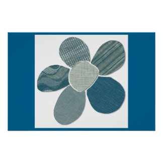 Fabric Collage Flower Mix and Match Colors Poster