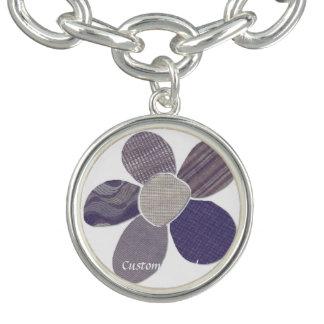 Fabric Cutout Flower Collage Bracelet