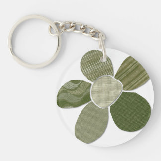 Fabric Cutout Flower Collage Double-Sided Round Acrylic Keychain