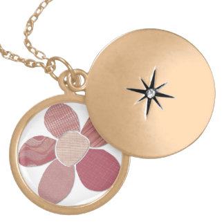 Fabric Cutout Flower Collage Locket Necklace