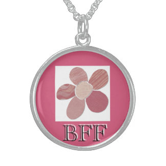 Fabric Cutout Flower Collage Round Pendant Necklace