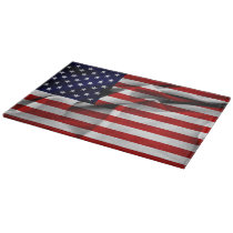 Fabric Effect US Flag Cutting Board