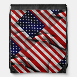 Fabric Effect US Flag Drawstring Bag