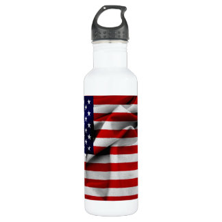 Fabric Effect US Flag Water Bottle