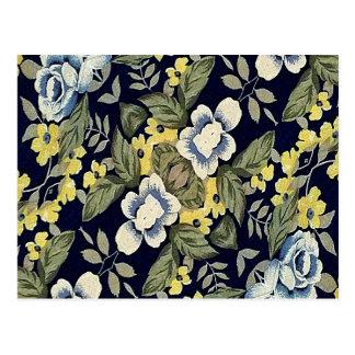 Fabric Floral Decorative Background Pattern Postcard