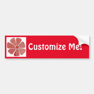 Fabric Flower Collage Choice of Background Color Bumper Sticker