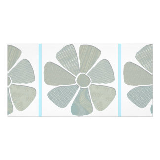 Fabric Flower Collage Choice of Background Color Photo Card