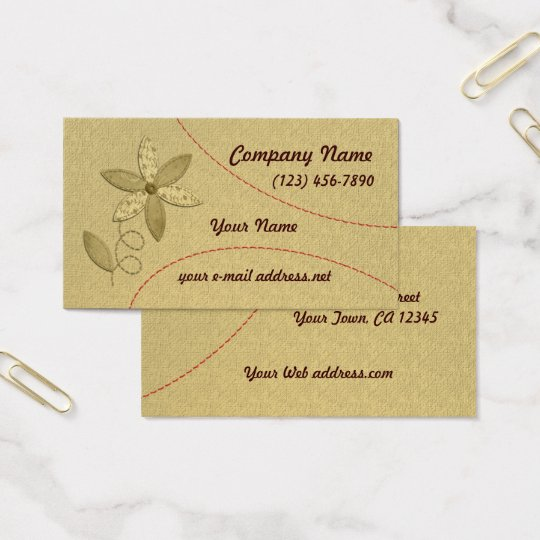 Fabric Flower Stitching Business Card