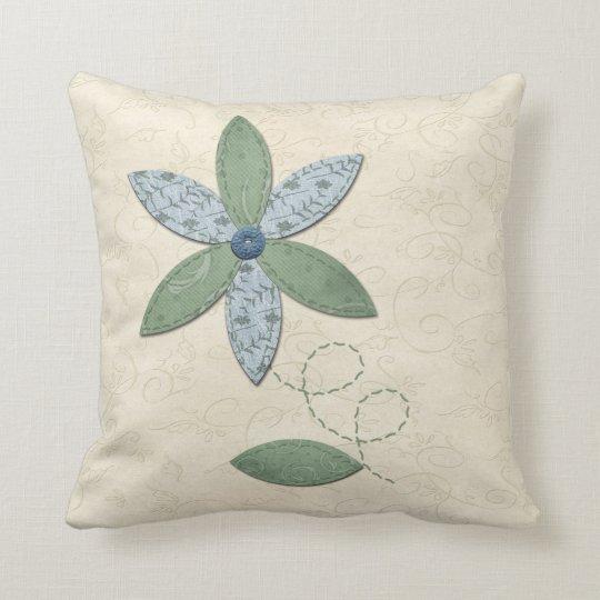 Fabric Flower Throw Pillow