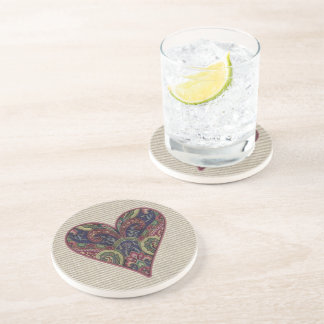 Fabric Heart Collage Coaster